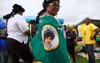 ANC supporters are purchasing regalia bearing the name and face of the late Winnie Madikizela-Mandela at an ANC memorial service at UJ Soweto Campus on 9 April 2018. Picture: Ihsaan Haffejee/EWN