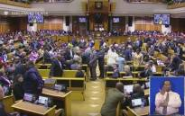 A screengrab of the disruptions to the 2017 State of the Nation Address in the National Assembly.