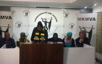 MKMVA briefs the media following its elective conference in Johannesburg. Picture: Clement Manyathela/EWN.
