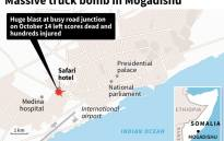 A truck bomb attack left dozens dead in the Somali capital of Mogadishu on 14 October 2017. Picture: AFP