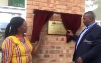 MEC Nandi Mayathula Khoza and Infrastructure Development MEC Jacob Mamabolo (R) officially launch Mary Moodley Centre in Benoni. Picture: @GPDID/Twitter.