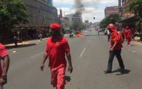 EFF members occupy the streets of Pretoria's CBD during their march against state capture. Picture: EWN.