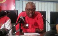 FILE: Gauteng provincial secretary Dumisani Dakile briefing the media about the trade union's planned country-wide strike against state capture. Picture: @_cosatu/Twitter.