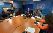 David Shearer (left), head of the United Nations Mission in South Sudan, and UNMISS' Human Rights Director, Eugene Nindorera addressing a news conference in Juba. Picture: @unmissmedia/Twitter.