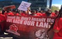 Workers of Oceana Group marched to the mayor's office against the proposed closure of the factory on 11 September 2015. Picture: Masa Kekana/EWN.