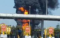 A fuel tanker exploded at the Mvoti Toll Plaza in KwaZulu-Natal on 27 March 2016. Picture: @KovilenR/Twitter
