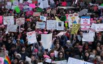 Demonstrators are seen during the 2018 Women's March in New York City on January 20, 2018 in New York City. Picture: AFP.