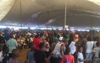 Vuwani residents sing and chant while waiting for President Jacob Zuma's address. Picture: Pelane Phakgadi/EWN