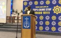 Minister of Police Bheki Cele addressing Tafelsig residents in Mitchells Plain on Thursday. Picture: Kaylynn Palm/EWN.