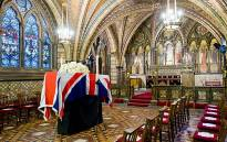 The coffin of former British Prime Minister Margaret Thatcher rests in the Crypt Chapel of St Mary Undercroft beneath the Houses of Parliament in central London on 16 April 2013. Picture: AFP