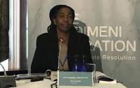 Former CEO of Siyabadinga, one of the NGOs where people died, Dianne Noyile takes tot he stand at the Esidimeni arbitration hearings. Picture: Masego Rahlaga/EWN