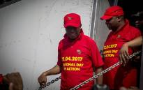 EFF leader Julius Malema leaves the stage at the Day of Action march against the leadership of President Jacob Zuma held in Pretoria on 12 April 2017. Picture: Reinart Toerien/EWN