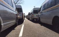Minibus taxis blockade the N3 North approaching Alexandra during a protest on 8 November 2017. Picture: EWN Traffic
