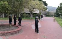 Private security guards deployed on CPUT's Cape Town campus following violent protests. Picture: Bertram Malgas/EWN