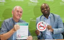 Tshwane MMC for Health Sakkie du Plooy and Tshwane Mayor Solly Msimanga unveil the city's new smoking policy. Picture: @SollyMsimanga/Twitter