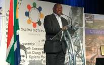 "President Cyril Ramaphosa speaks at the inaugural ""Inclusive Growth Conference"" in the Drakensberg organised by former President Kgalema Motlanthe's foundation on 15 June 2018. Picture: Twitter/@KMotlantheFDN"