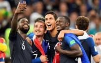 French players celebrate winning the Fifa World Cup final at the Luzhniki Stadium in Moscow on 15 July 2018. Picture: AFP