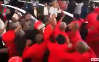 A screengrab showing the brawl between EFF and ANC members during a council meeting in Johannesburg on 19 October 2017.