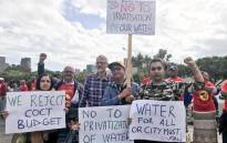 Activists making their way to the Cape Town Civic Centre and Parliament during a demonstration against the City of Cape Town's proposed tariff increases. Picture: Kaylynn Palm/EWN.