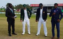 Proteas skipper Faf du Plessis (second from left) and Sri Lanka captain Suranga Lakmal (second from right) call the toss ahead of the first Test in Galle on 12 July 2018. Picture: @OfficialCSA/Twitter