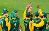 Proteas players celebrate with Morne Morkel after taking a wicket during their Pool B match against United Arab Emirates on 12 March 2015. Picture: CWC.