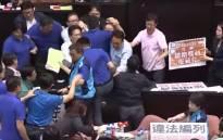 A screengrab of the brawl in Taiwan's parliament.