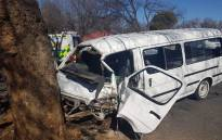 A taxi is seen after an accident in Vanderbijlpark which left one person dead and 12 injured. Picture: ER24.