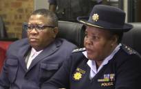 Police Minister Fikile Mbalula and Gauteng police commissioner Deliwe de Lange in Eldorado Park. Picture: Kgothatso Mogale/EWN