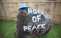 A large boulder with a message of peace at the Katale base of the Monusco. Picture: United Nations Photo.