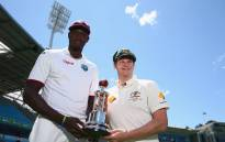 West Indies' Jason Holder and Australia's Steve Smith, holding a series trophy. Picture: Cricket Australia.