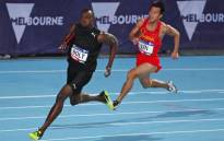 Usain Bolt takes the bend in the relay event. Picture: @nitro_aths/Twitter