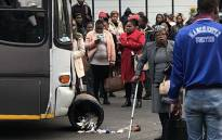 Commuters protest against poor bus service in Gandhi Square, Johannesburg on  16 May 2018. Picture: @bigjohnson2/Twitter