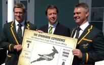Springbok captain Jean de Villiers, Saru CEO Jurie Roux and coach Heyneke Meyer attend the official opening of the Springbok Experience museum in Cape Town on 24 September 2013. Picture: Aletta Gardner/EWN