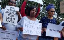 A group protests outside the Tanzanian embassy in Pretoria on 24 October 2017 for the release of activists arrested in Tanzania for 'promoting homosexuality'. Picture: Twitter/@Tumi_06