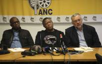 ANC WC acting chairperson, Khaya Magaxa (left), ANC head of elections Fikile Mbalula (centre) and newly appointed Western Cape elections head, Ebrahim Rasool (right). Picture: Cindy Archillies/EWN