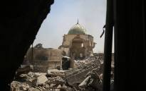 FILE: A picture taken on 29 June 2017 shows the destroyed Al-Nuri Mosque in the Old City of Mosul during the ongoing offensive to retake the area from Islamic State group fighters. Picture: AFP.