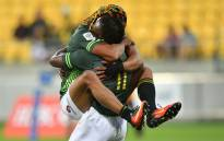 South Africa's Seabelo Senatla and Justin Geduld. Picture: AFP.