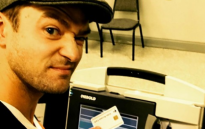 The selfie taken by Justin Timberlake in a voting booth.