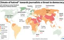 World map showing country rankings on press freedom compiled by Reporters without Borders. Picture: AFP.