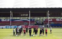 General view of England players during training. Picture: @England/Twitter.