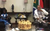Ontlametse Phalatse met President Jacob Zuma on 23 March 2017 as part of her bucket list of wishes. Picture: Katleho Sekhotho/EWN.