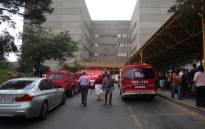 Emergency services on the scene at Charlotte Maxeke Academic Hospital following a roof collapse on 2 March 2017. Picture: Christa Eybers/EWN.