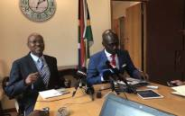 Home Affairs Director-General Mkhuseli Apleni and Minister Malusi Gigaba Briefing media on 6 March on the naturalisation of the members of the Gupta family. Picture: @SAgovnews/Twitter