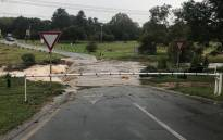 The bridge between The River Road and Belgrave in Bryanston is closed to traffic due to flooding on 23 March 2018. Picture: Christa Eybers/EWN