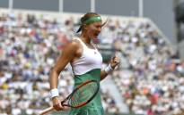 France's Kristina Mladenovic reacts after winning a point during her tennis match against US Shelby Rogers at the Roland Garros 2017 French Open on 2 June 2017 in Paris. Picture: AFP