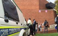 The outside of the Sanlam Auditorium at the University of Johannesburg that has been cordoned off because of a fire. Picture: Vumani Mkhize/EWN.