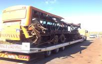 """30 people were killed  in an accident involving a bus and a truck in Moloto Road near Kwaggafontein in Mpumalanga on 11 November 2013. Picture:Barry Bateman/EWN"""""""