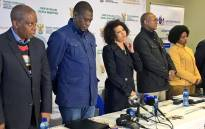 Human settlements Minister Lindiwe Sisulu is accompanied by MEC Paul Mashatile and Johannesburg Mayor Herman Mashaba. Picture: Katleho Sekhotho/EWN