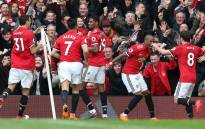 Manchester United players celebrate after Marcus Rashford scored on 10 March 2018. Picture: @ManUtd/Twitter.