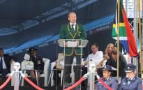 Former Springbok flanker Francois Pienaar speaks during Joost van der Westhuizen's memorial service. Picture: Christa Eybers/EWN.